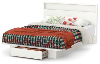 South Shore Holland Full/Queen Platform Bed And Headboard Set, Pure White