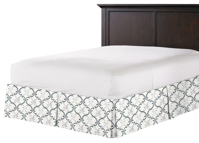 aqua blue embroidered chain bed skirt pleated