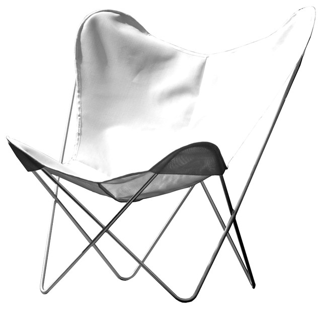 Outdoor Hardoy Leather Butterfly Chair, White