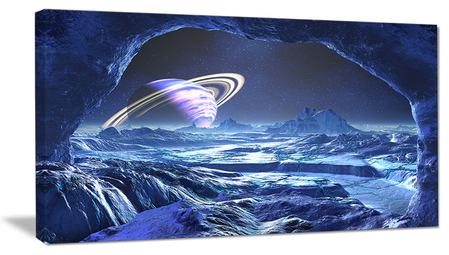 Electric Blue Alien World Landscape Canvas Art Print Contemporary Prints And Posters By Design Art Usa
