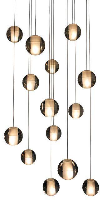 Orion 14Light Floating Glass Globe LED Chandelier Contemporary