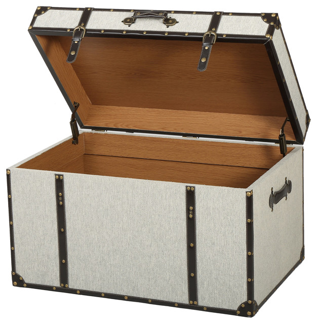 Charming Clarkson Gray Upholstered Storage Trunk Contemporary Decorative Trunks