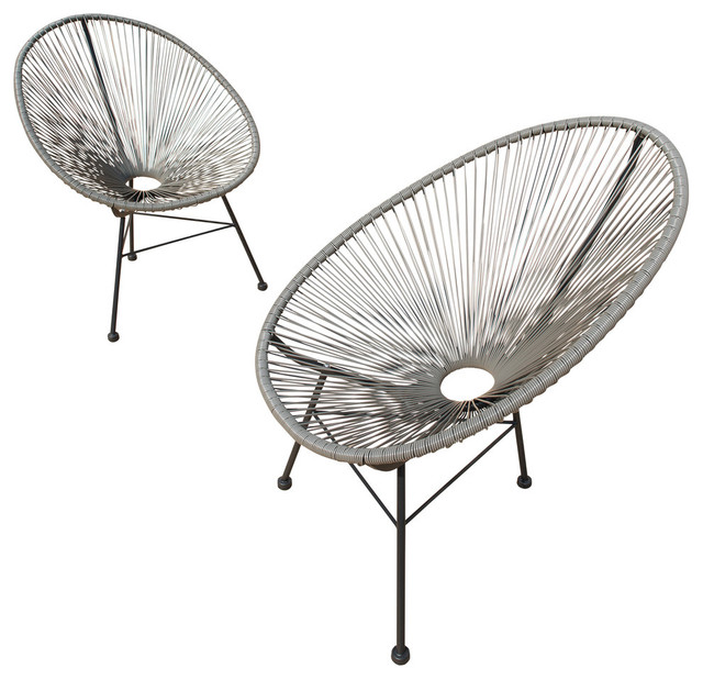 Hannover Wicker Acapulco Chair, Set of 2, Gray