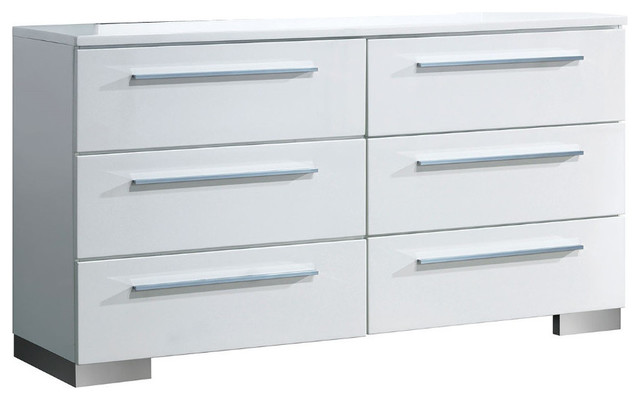Minimal Modest Wooden Dresser In Contemporary With 6 Drawers, White
