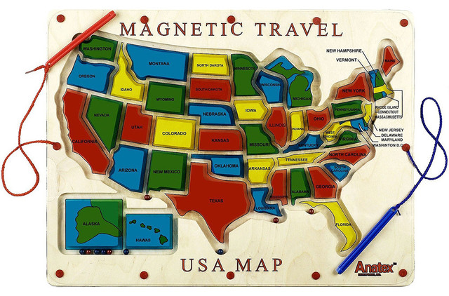 Magnetic Travel USA Map Game Traditional Kids Toys And Games – Map Usa Game