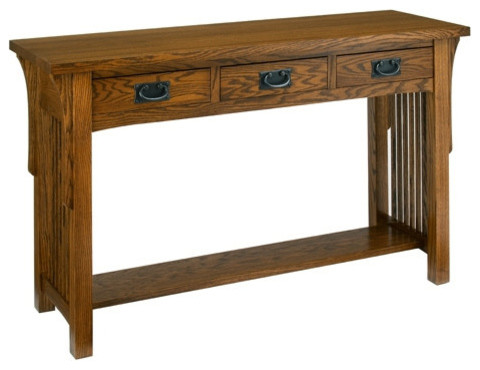 A. A. Laun Arts And Crafts Sofa Table With 3 Drawer 8429 Craftsman Console