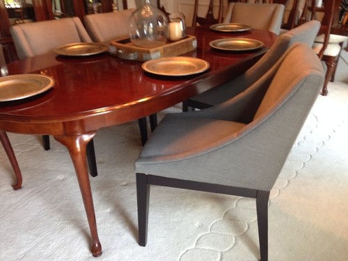 Perfect Queen Ann Cherry Table With Modern Chair