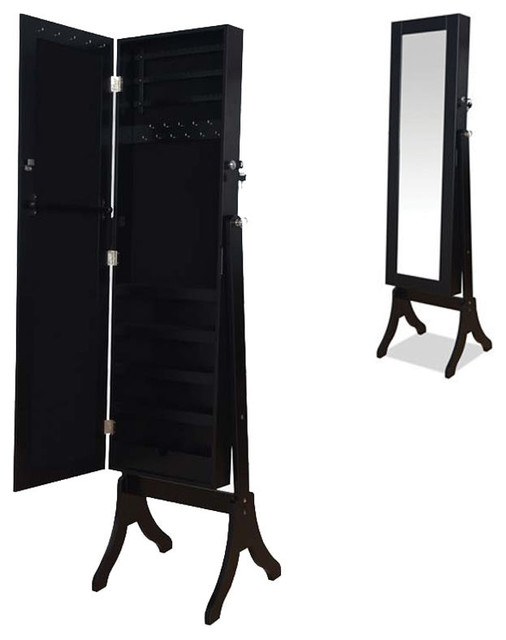 Classic Black Jewelry Armoire Wardrobe Floor Dressing Mirror Cheval ...