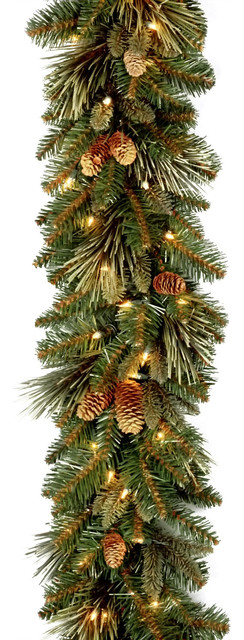 9&x27;x10 Carolina Pine Garland With 27 Flocked Cones And 100 Clear Lights-Ul.