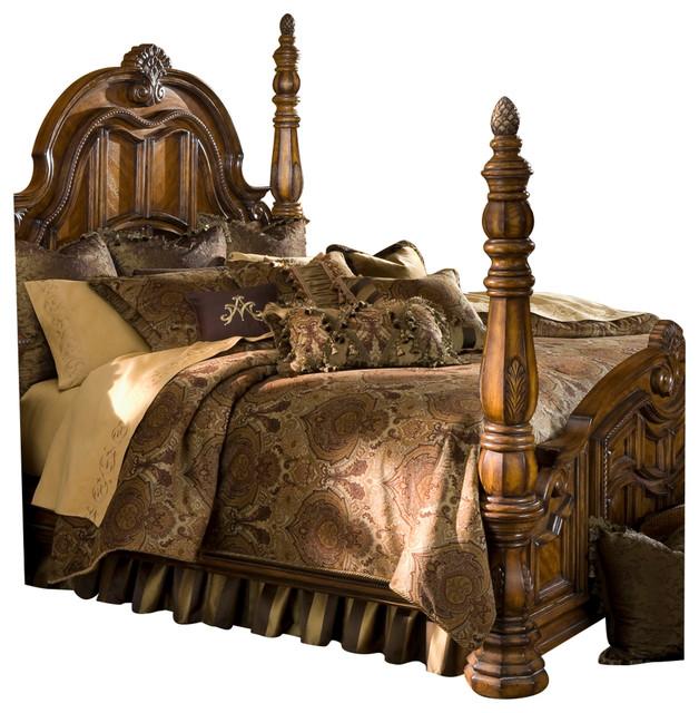 4 Piece Michael Amini Eden S Paradise Poster Bedroom Set: AICO Michael Amini Pontevedra 13-Piece King Comforter Set