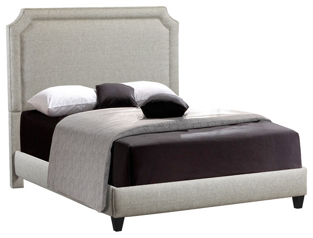 Manor Belgrave Shape Upholstered King Bed With Rails And Footboard, Midori.