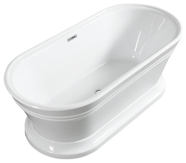"""Vanity Art Free Standing Acrylic Bathtub, 59""""."""