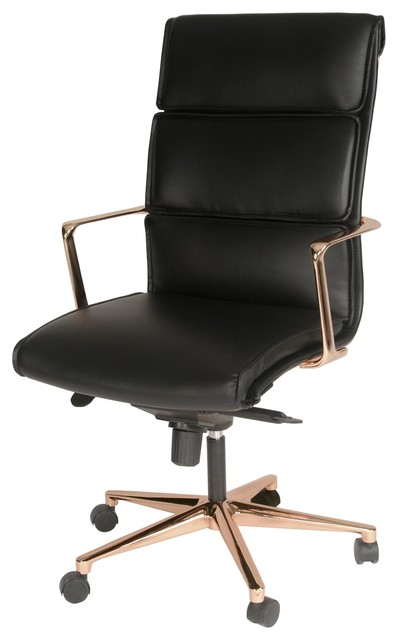 back office chair rose gold base black contemporary office chairs