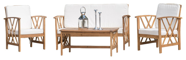 Denise Austin Home Zale Outdoor Acacia Wood Chat With Cushions 4-Piece Set.