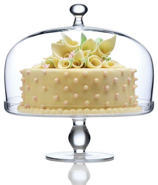 Footed Cake Plate With Dome - Transitional - Dessert And Cake Stands ...