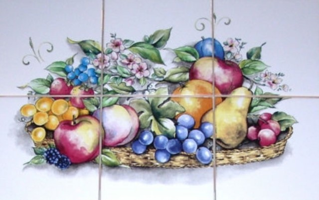 Fruit Kiln Fired Ceramic Tile Mural Peach Pear Grapes, 6 Piece Set Tile  Part 61