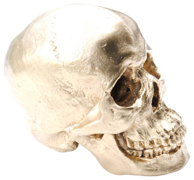 Faux White Human Skull Resin Home Decor Table Top Skeleton Head Gold Contemporary