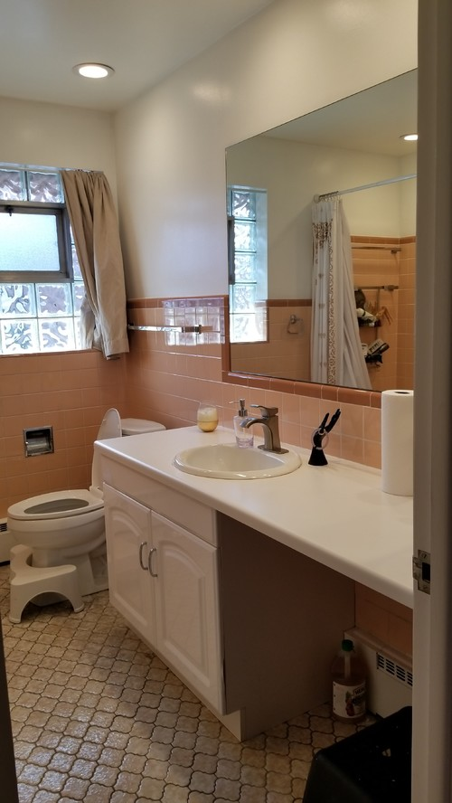 1 Weekend To Modernize This Ugly Peachy Pink Tile Bathroom On 250