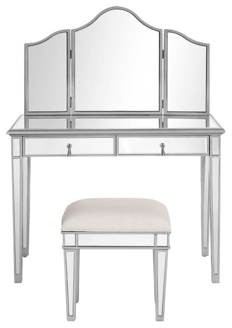 Chamberlan Clear Mirror Vanity Table Set Transitional Bedroom And Makeup  Vanities