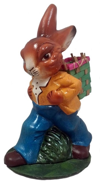 Ino Schaller Walking Easter Bunny Rabbit With Basket German Paper Mache.
