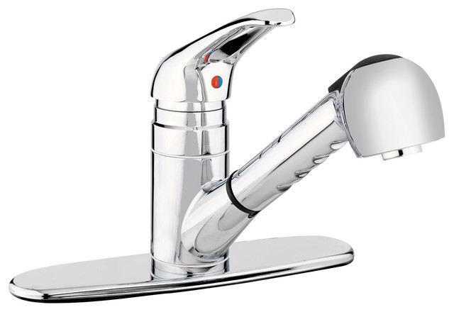 Kitchen Sink Faucet With Pull Out Spout, Polished Chrome Finish, 1-Handle.