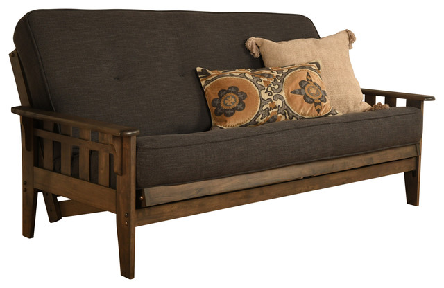 Sonora Frame, Rustic Walnut Finish, Mattress, Linen Charcoal.