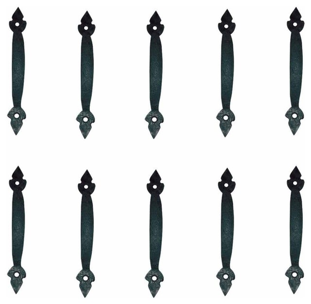 10 Door Pulls Black Wrought Iron Fleur de Lis Set of 10 - Rustic - Cabinet And Drawer Handle ...