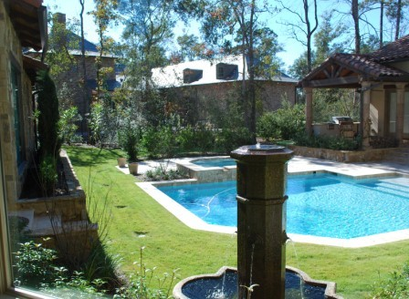Pool and Water Fountain Feature