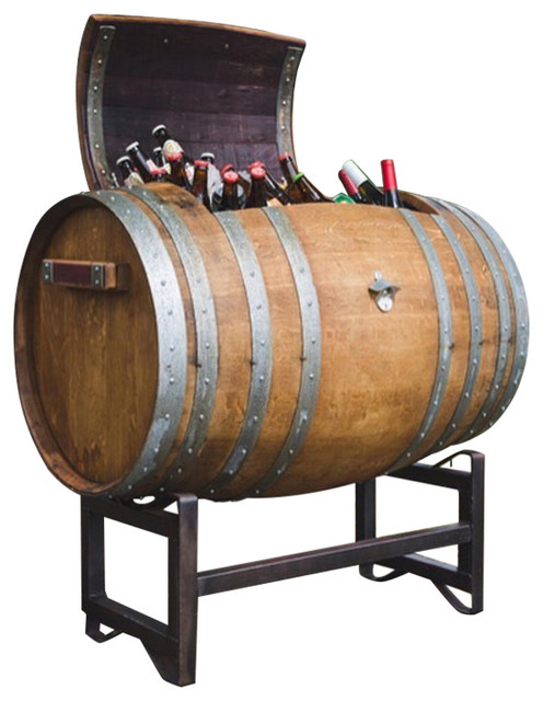 Napa Wine Barrel Ice Chest With Stand Industrial