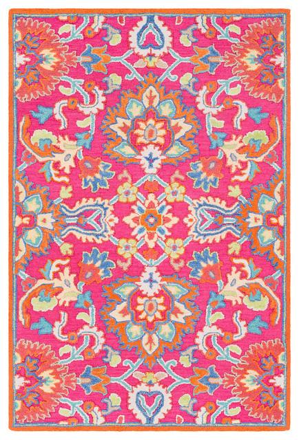 Technicolor Traditional Bright Pink Coral Area Rug