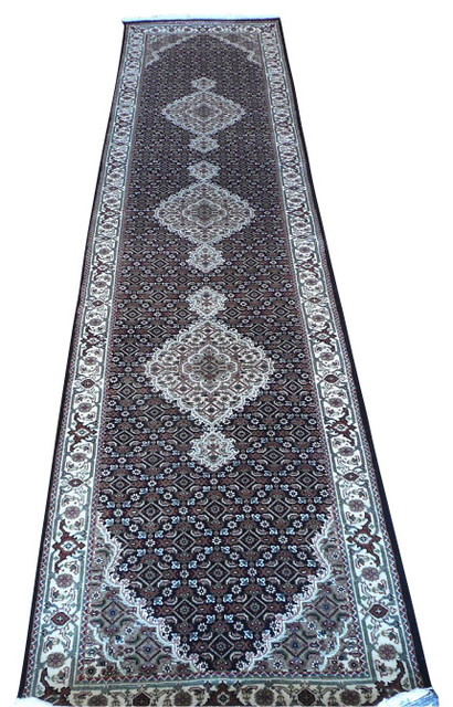 3x12 Hand Knotted Black Mahi Tabriz Oriental Runner Rug Traditional Hall And Stair