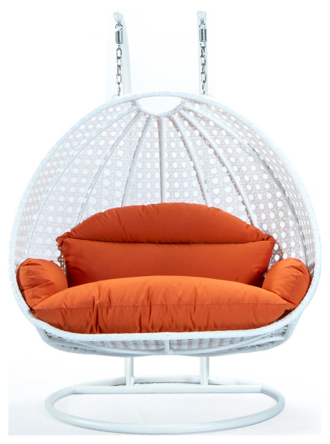 2 Person White Wicker Double Hanging Egg Swing Chair ...