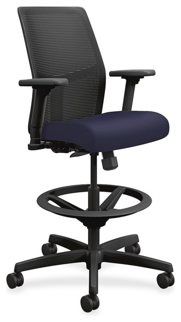 HON Ignition Seating Mid Back Task Stool, Fabric Navy Seat   Contemporary    Office Chairs   By BisonOffice