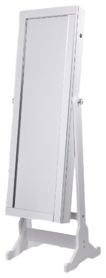 Mary Jewelry Storage Armoire With Mirror Border & Led Lights, White.