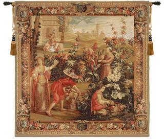 "La Recolte Des Ananas, European Wall Tapestry, 58""x58 ..."