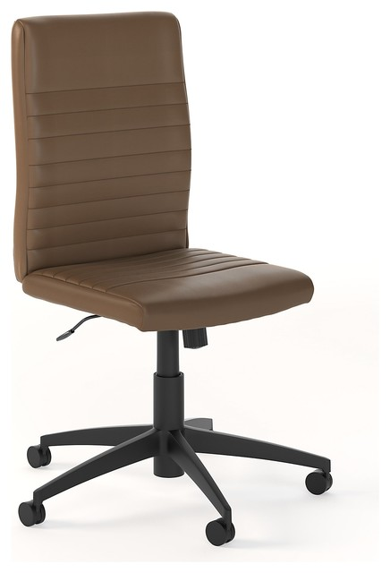 Bush Furniture Anthropology Mid Back Ribbed Leather Office Chair, Saddle Tan