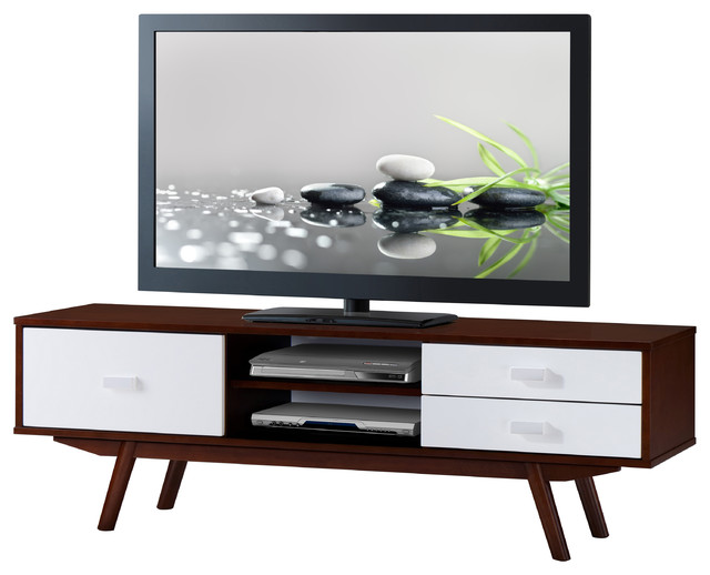 "Techni Mobili Retro Wood Veneer 65"" Tv Stand With Storage, Walnut."