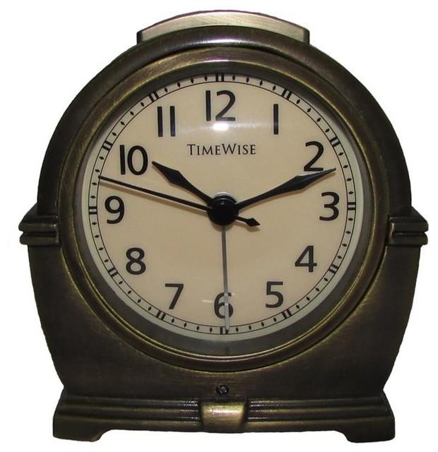 Alarm Clock, Antero Metal Alarm Clock Antique Brass