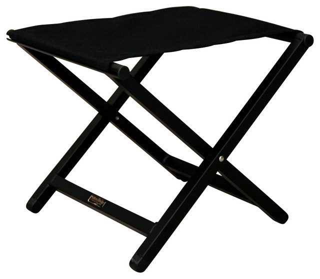 Folding Aluminum Footstool W Jet Black Fabric Top.