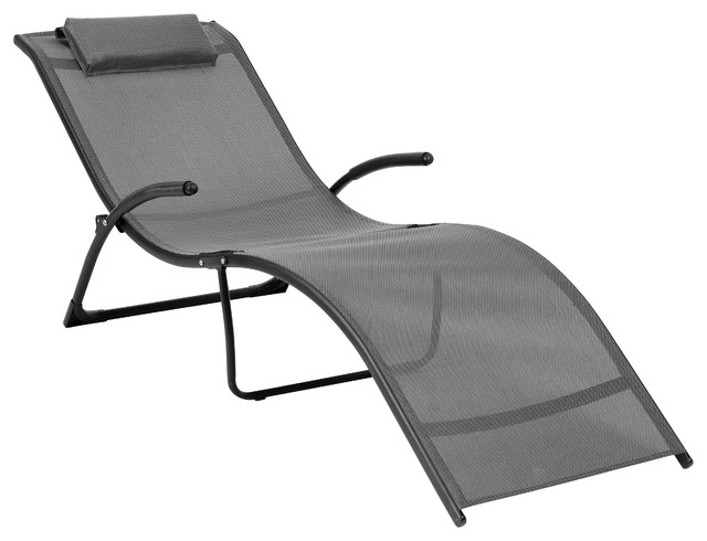 Corliving Riverside Folding Reclined Lounger, Black And Silver Gray.