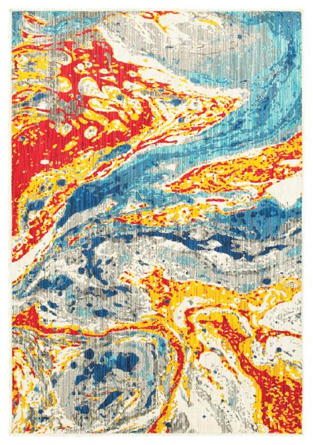 Jillian Bold Abstract Waves Stone And Multi Area Rug, 1&x27;10x3&x27;0.