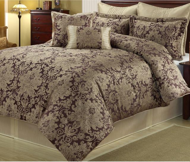 Ethel Gold Purple 8 Piece Floral Comforter Set