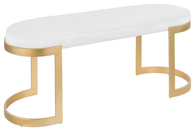 Demi Glam Bench, Gold Metal And White Velvet.