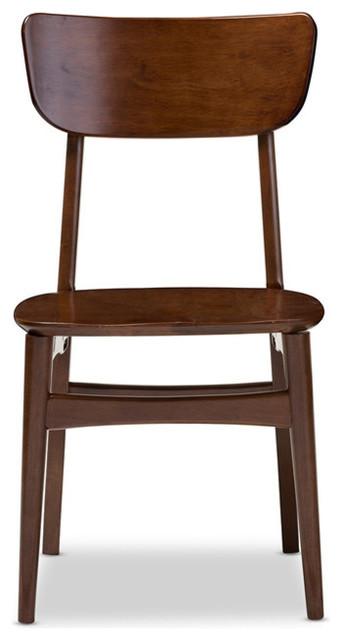 Mid-Century Modern Scandinavian Style Dark Walnut Bent Wood Chairs, Set of 2
