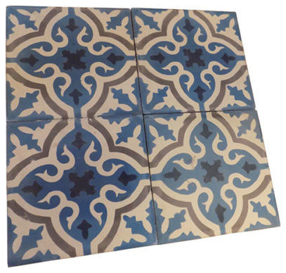 """Moroccan Handmade Cement Mosaic Tile, 8""""x8"""" Floral Design, Set Of 12."""