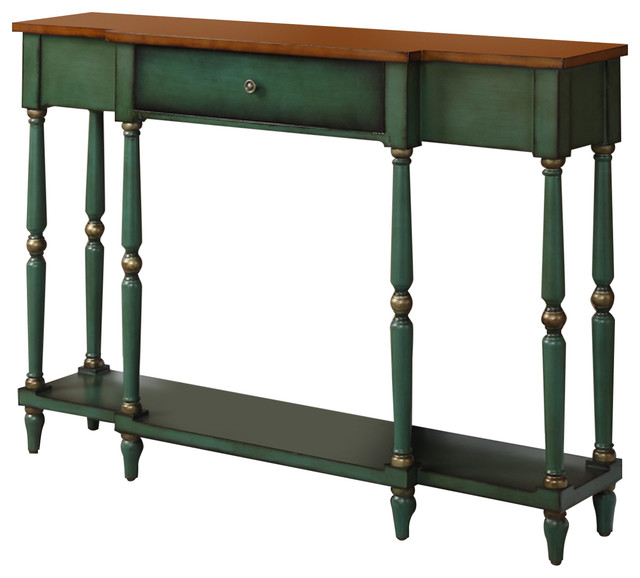 Wyoming 2 Tone Antique Console Table Traditional Console Tables