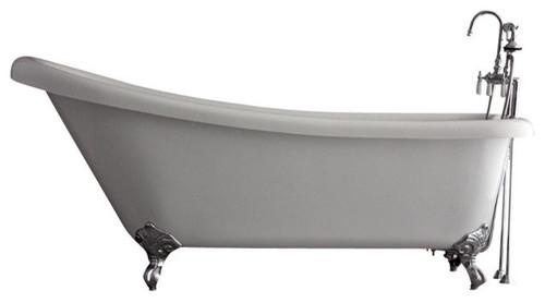"Hotel Collection Single Slipper Clawfoot Bathtub Set, 57"", Chrome"