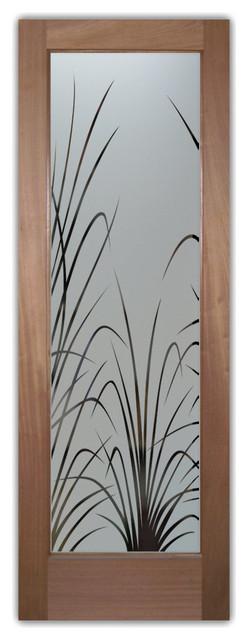 Pantry Door with Glass Wispy reeds