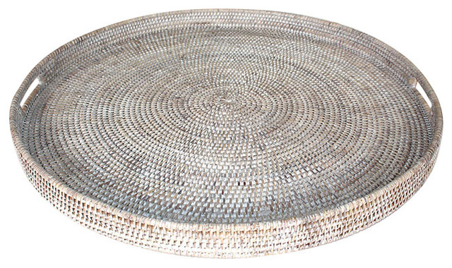 White Rattan Tray With Handle Round 26, Coffee Table Tray Round White