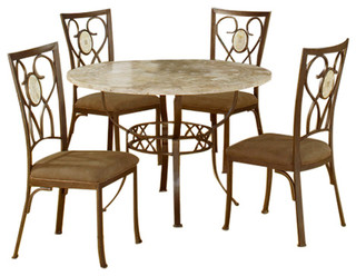 Brookside 5-Piece Round Dining Set With Oval Back Chairs